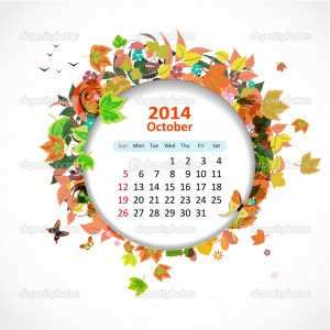 Calendar for 2014, october